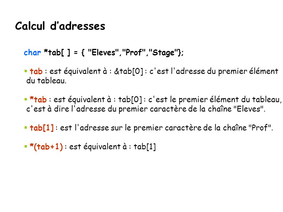 Calcul d'adresses char *tab[ ] = { Eleves , Prof , Stage };